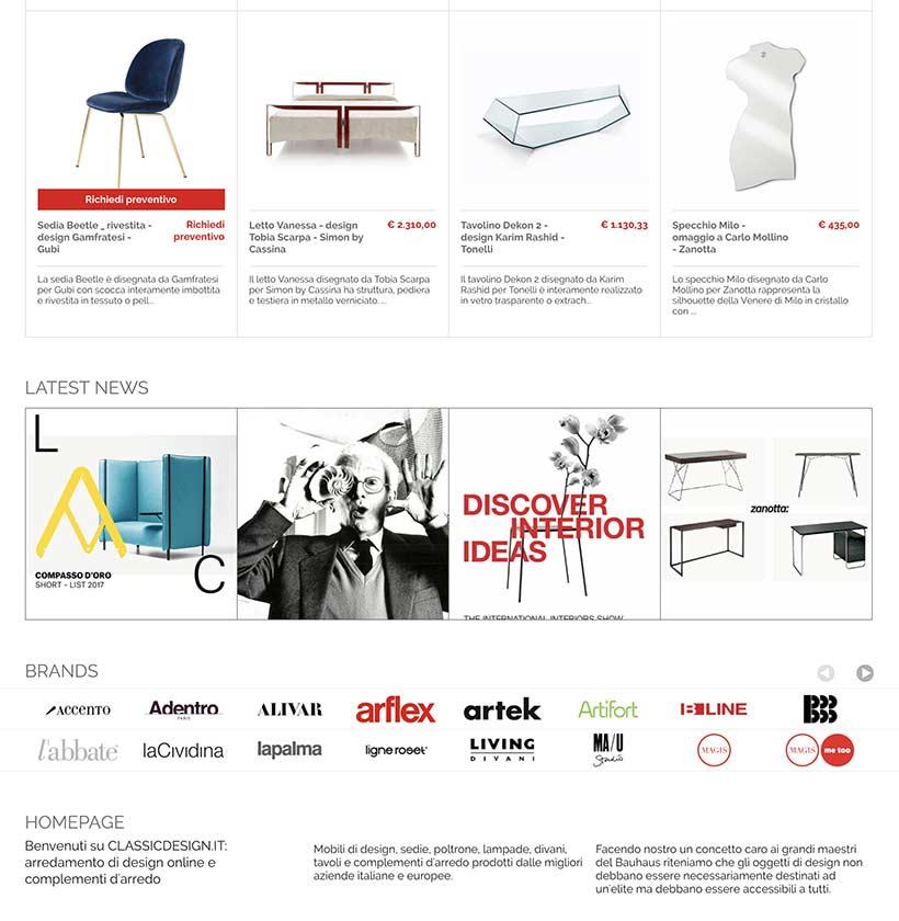 realizzazione sito web classic design home 2