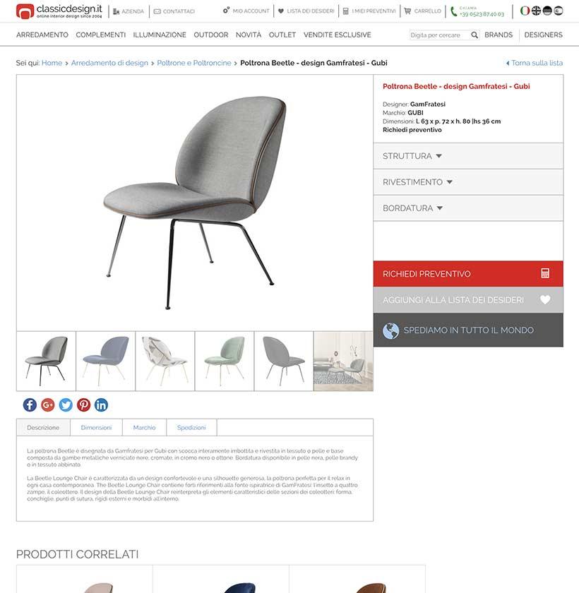 realizzazione sito web classic design scheda prodotto 1