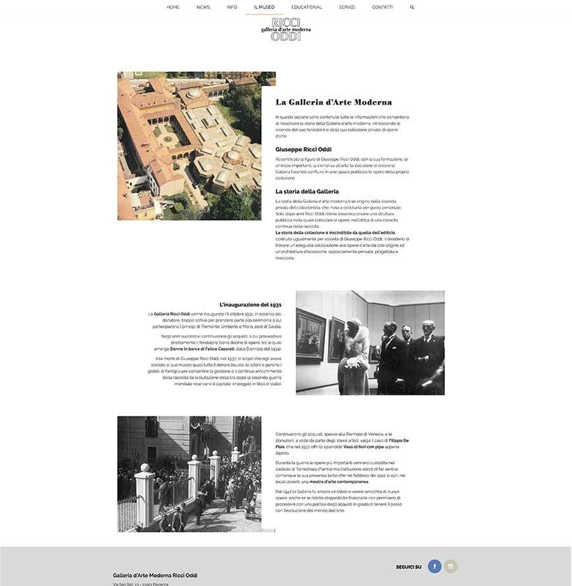 realizzazione sito web galleria ricci oddi home 2