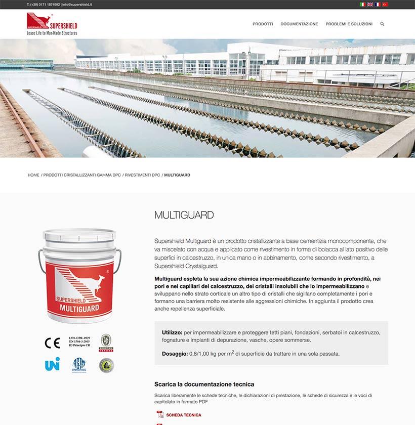 supershield web design scheda prodotto 1