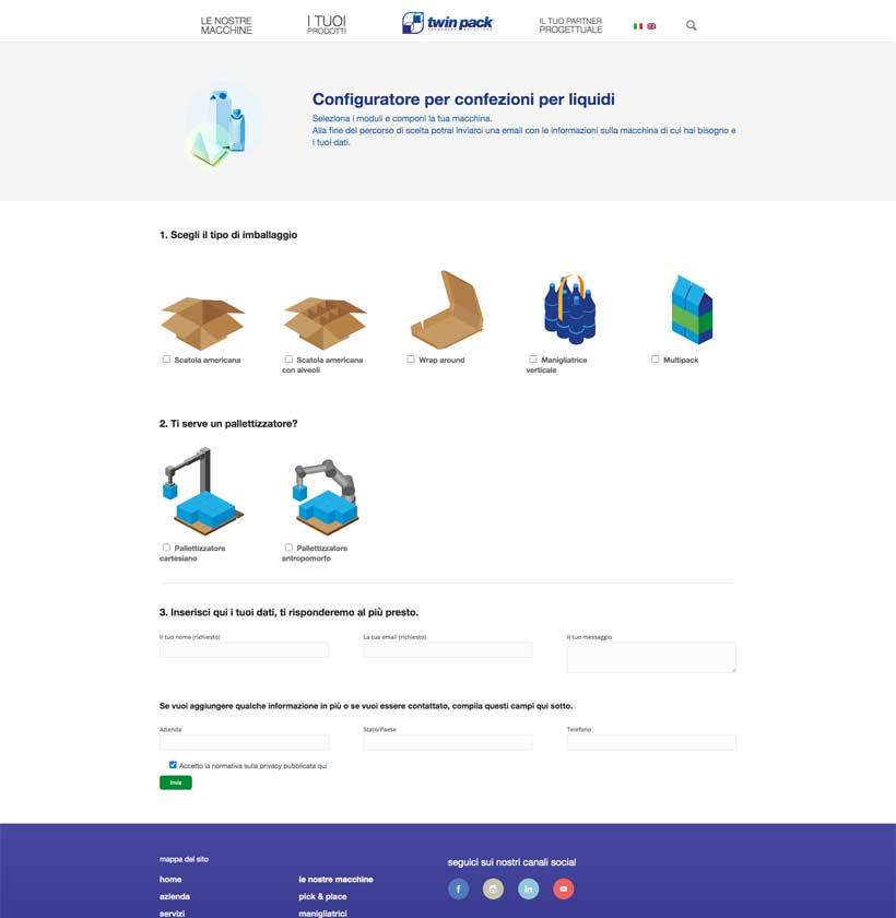 progettazione sito internet twinpack configuratore