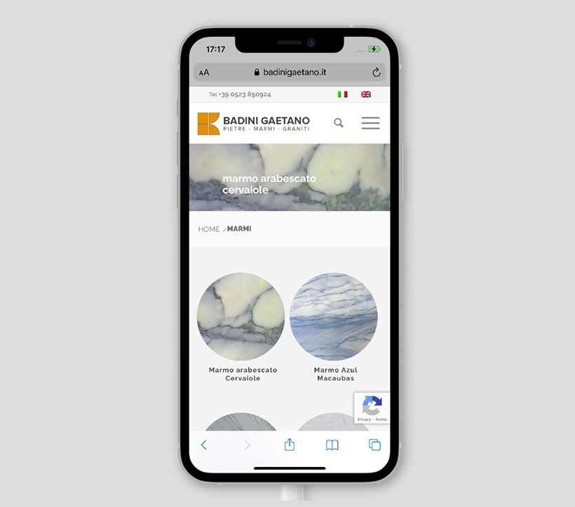 sito web responsive badini gaetano mobile marmi