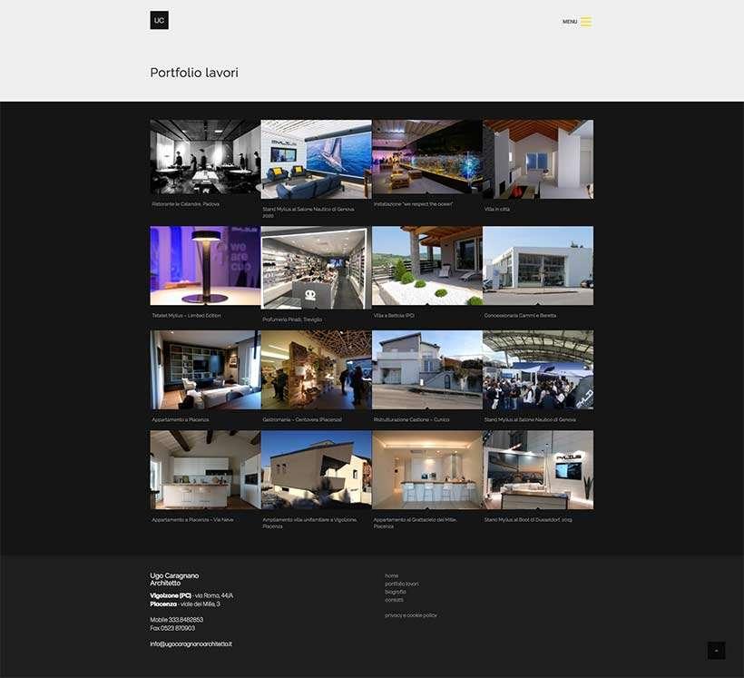 realizzazione sito web ugo caragnano architetto portfolio