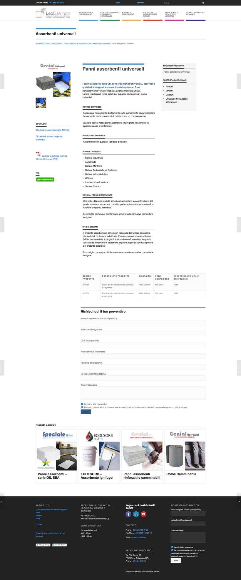 redesign scheda prodotto sito web leodavinci